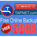 TAPNET offers the best free online backup service offer with a 50GB Free Account