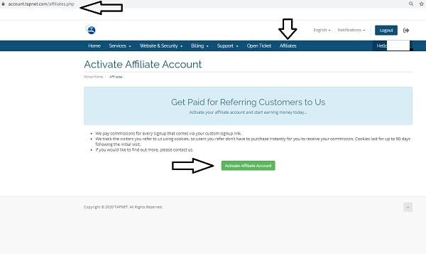 Activate Affiliate URL